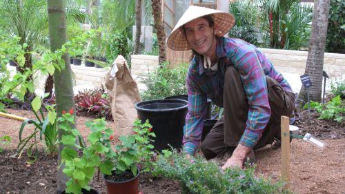 Randy Johnson tending plants